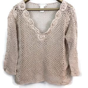 Spanner Crochet 3/4 Sleeve Open Knit V Neck Top